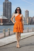 orange H&M dress - embroidered vintage heels