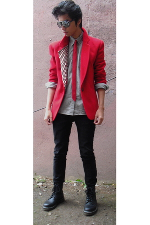 red thrifted express blazer - black Aldo shoes - black Cheap Monday jeans