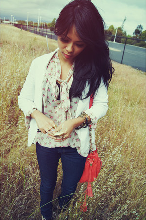 floral sheer Bellatrix blouse - navy skinny Forever 21 jeans