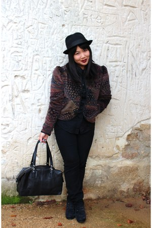 maroon paisley velvet Thrift Store blazer - black hi waisted BDG jeans