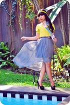 yellow knit candy girls cardigan - black tan flea market heels