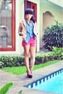 Camel-cotton-blazer-hot-pink-tan-bag-hot-pink-cotton-pants-black-tan-heels