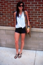 Hanes shirt - Wet Seal vest - forever 21 necklace - forever 21 shorts - Target s