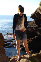 Quinns t-shirt - Gift from Quinns Mum scarf - Hacked up jeans shorts - Vintage F