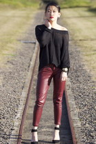brick red Romwecom pants - black Zara heels - black open knit Lee jumper