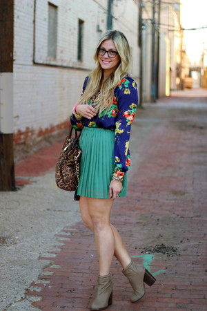 navy Forever 21 top - teal Urban Outfitters skirt - black Chanel glasses
