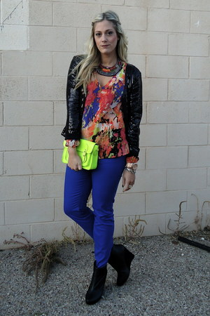chartreuse Hallelu bag - blue Jolt jeans - black Tulle blazer