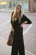 black Karen Kane dress - red Sam Moon necklace