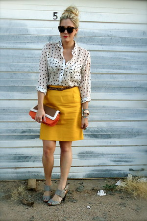 mustard J Crew skirt - carrot orange Sam Moon bag - dark brown Target belt