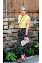 lime green Anthropologie blouse - black Urban Outfitters pants