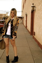 black escada blazer - brown Gucci bag - navy Urban Outfitters shorts