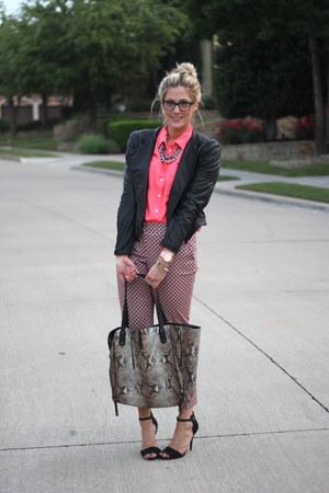 hot pink J Crew blouse - black Zara jacket