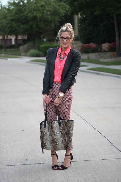 hot pink J Crew blouse - black Zara jacket