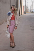 bubble gum J Crew skirt - white tory burch bag