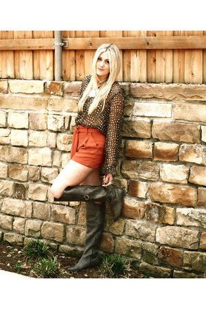 gray Maude boots - carrot orange Urban Outfitters shorts - dark brown vintage bl