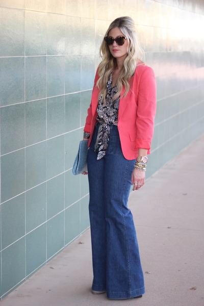 coral vintage blazer - navy J Brand jeans - black Karen Kane blouse