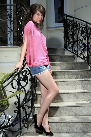 black heels Servus heels - navy jeans ICON shorts