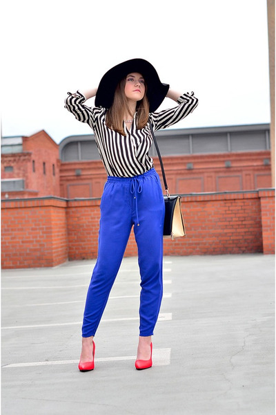 H&M hat - shirt - bag - heels - pants - necklace