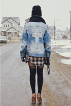 light blue jacket - black beanie hat - black asos tights - navy scarf