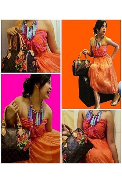 hot pink top - burnt orange Louis Vuitton bag - carrot orange thrifted skirt