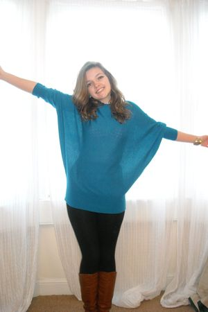 blue Primark sweater - brown barrats boots