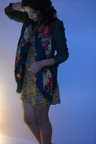 gold Primark dress - green charity shop scarf - brown H&M jacket