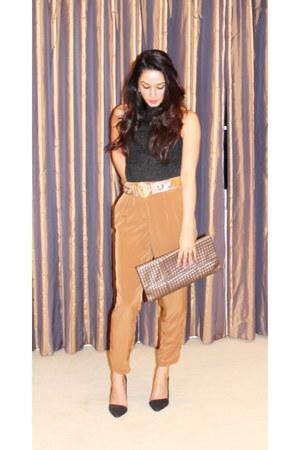 bronze Zara pants - silver clutch vintage bag - black Zara heels