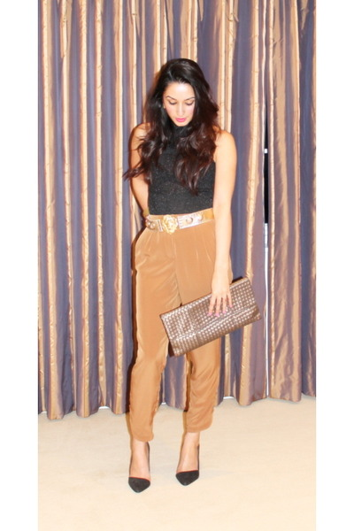 bronze Zara pants - silver clutch vintage bag - black Zara heels