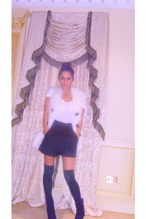 t-shirt - Topshop vest - Wolford stockings - Kurt Geiger boots - French Connecti