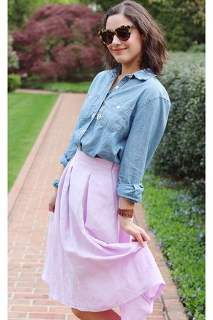 periwinkle Zara skirt - sky blue chambray J Crew shirt - brown sunglasses