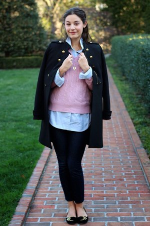 bubble gum sweater - black velvet shoes shoes - black military coat Zara coat