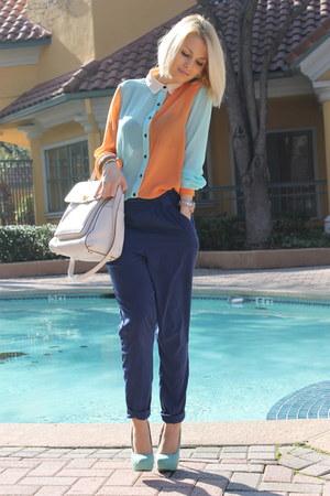 leather Michael Kors bag - multicolor Express bag - silk Forever21 pants