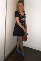 brown vintage purse - blue vintage shoes - black Miss Selfridge dress
