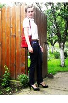 black Zara jeans - funky shoes - red vintage purse - white vintage shirt