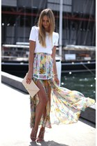 floral print skirt - white shirt - clutch bag - heel sandals - red ring