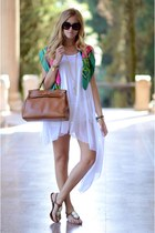 brown leather bag - white long dress - neon scarf - big sunglasses