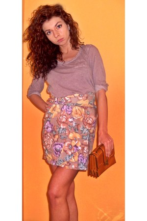 floral print skirt - burnt orange H&M purse - light purple H&M blouse
