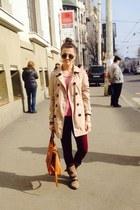 Stradivarius coat - Bershka boots - pull&bear leggings - Bershka shirt