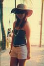 Light-brown-bazaar-hat-ivory-topshop-shorts-black-aldo-sunglasses
