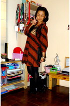 dark brown Batik dress - black Topshop stockings - black flex bag - black Charle