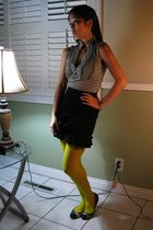 black Sexy Dynamite London skirt - yellow Claires tights - gray Candies top - bl