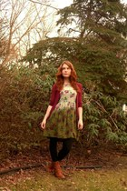 tawny modcloth boots - army green UO dress - black Target tights