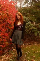 black modcloth tights - purple Threadless t-shirt - charcoal gray modcloth skirt
