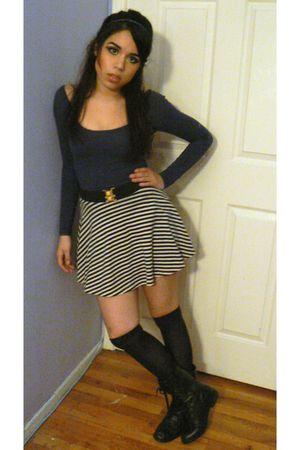 blue American Apparel dress - blue HUE socks - black Forever 21 boots - white Am