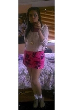 white Forever 21 sweater - beige Forever 21 boots - pink Limited skirt