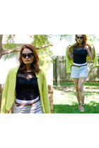 light yellow structured Zara blazer - white H&M shorts