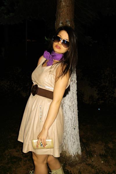 leather beige dress - purple silk scarf