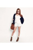 denim shorts Wrangler shorts - Paul and Joe cardigan - white cotton Filippa K t-