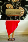 Gold-mimco-bag-white-vintage-top-red-topshop-skirt