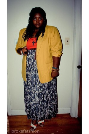 light yellow thrifted blazer - carrot orange shirt - light brown Old Navy skirt
